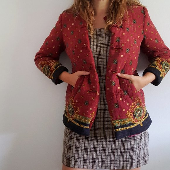 1980's Quilted Mandarin Jacket with Baroque Design